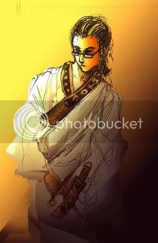 samurai, ink, photoshop