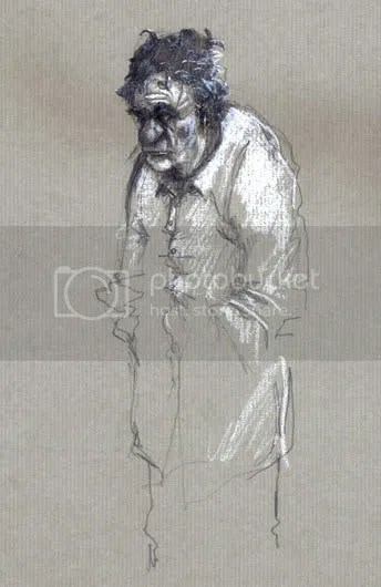 old man sketch with white pencil