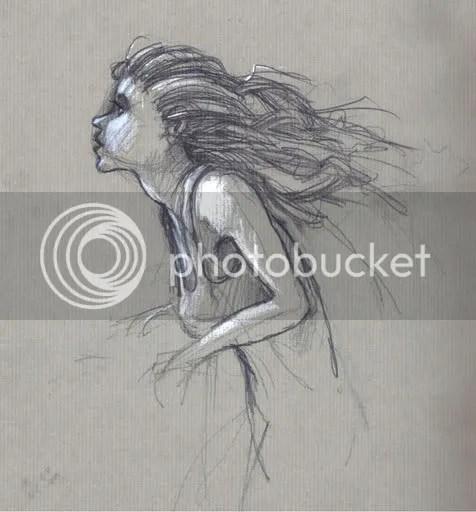 wind blowing through a girl's hair