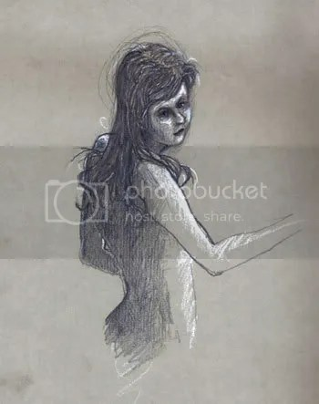 white pencil sketch of hair