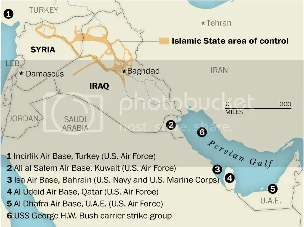 The U.S. military is conducting air strikes in Iraq against the Islamic State, two-thirds of them, the majority, are from bases. The U.S. military will not disclose where the warplanes being deployed over Iraq are based, citing political sensitivities. The Pentagon has relied on several large air bases it has built up in the region