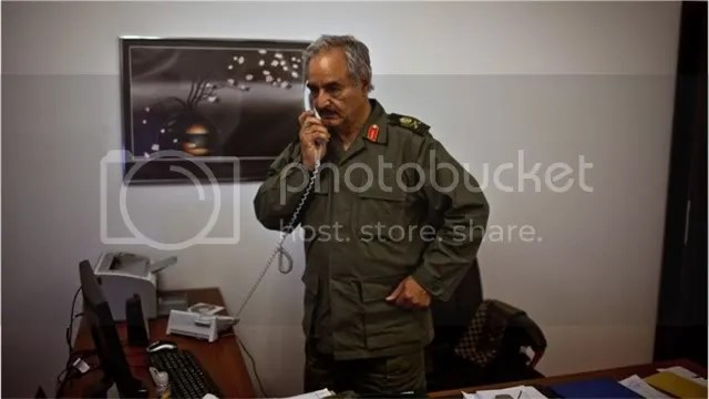 Khalifa Hifter, Free Libyan Forces in Libya, at Gulf Oil Co. in Benghazi