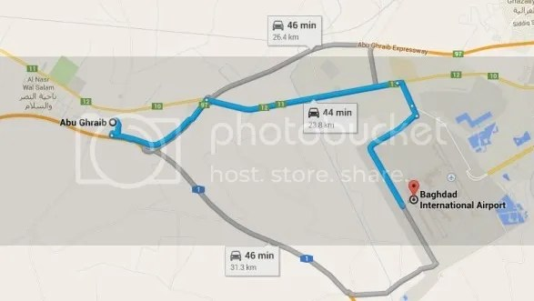 Abu Ghraib, only 40 kilometers (24 miles) from Baghdad