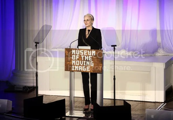 Ellen Barkin speaks onstage at the Museum of The Moving Image honors Julianne Moore at 583 Park Avenue on January 20, 2015 in New York City.