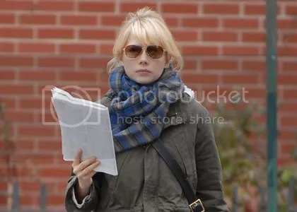 Michelle Williams with script