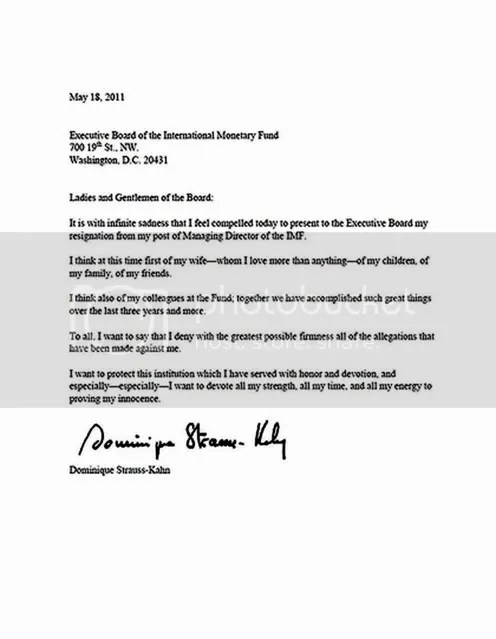 Dominique Strauss-Kahn Resignation Letter