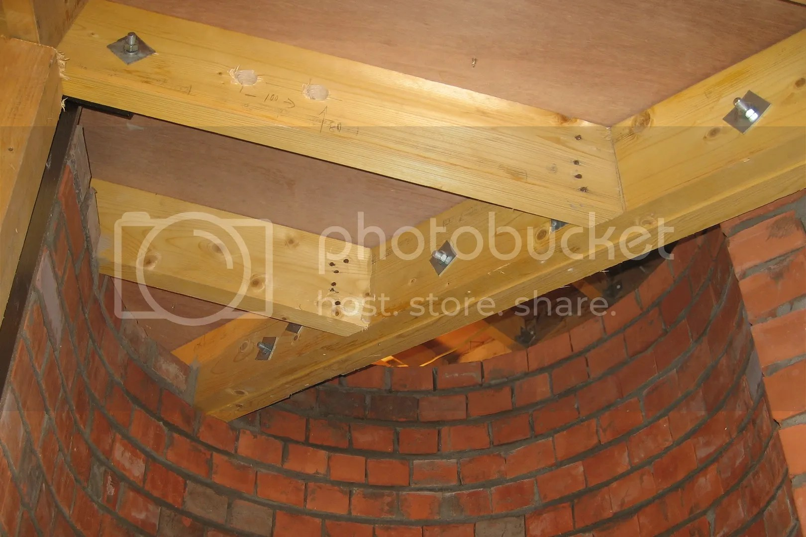 basement structure with bricks and beams