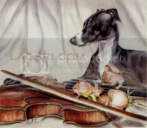 Finished Italian Greyhound and Violin artwork