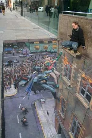 Pavement Art Illusion