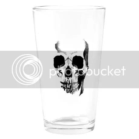 Skull Face Pint Glass on CafePress