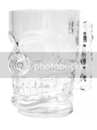 Clear Glass Skull Stein Mug Cup