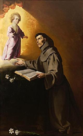 Saint Antoine de Padoue et Notre Seigneur. Zurbaran. XVIIe siècle.
