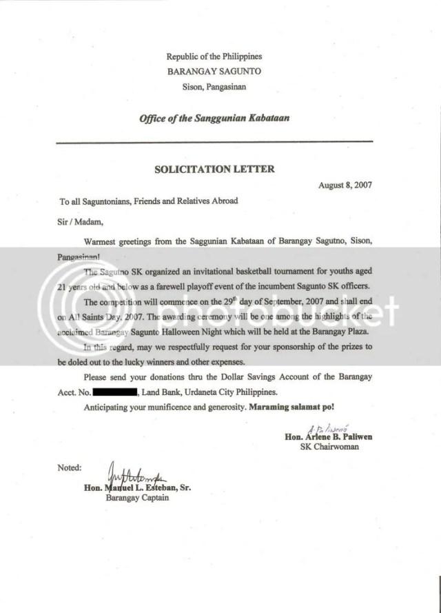 solicitation letter tagalog sample basketball
