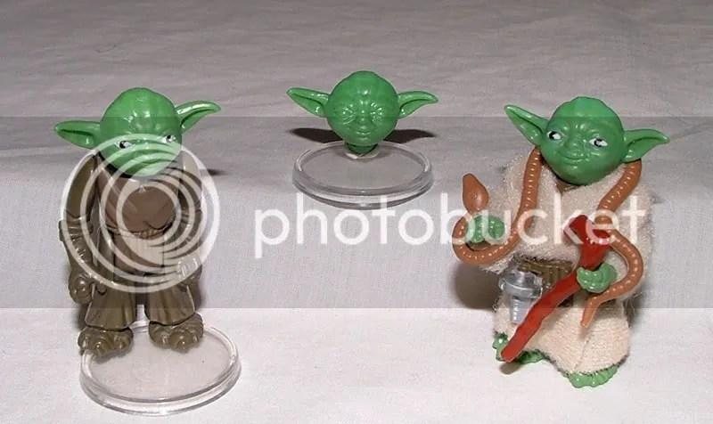 Ledy Yoda (Unpainted limbs), Ledy Yoda Head (Unpainted overstock) & Production Ledy Yoda.