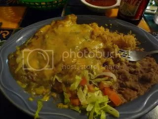 The green chile chicken enchiladas, which were excellent along with the homemade beans and rice