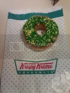 A Krispy Kreme donut decked out in Green and Gold for Australia Day