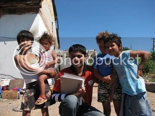 Ashwin Jangam with Roma children