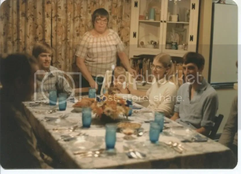 Aldine presiding over the Thanksgiving table, 1976