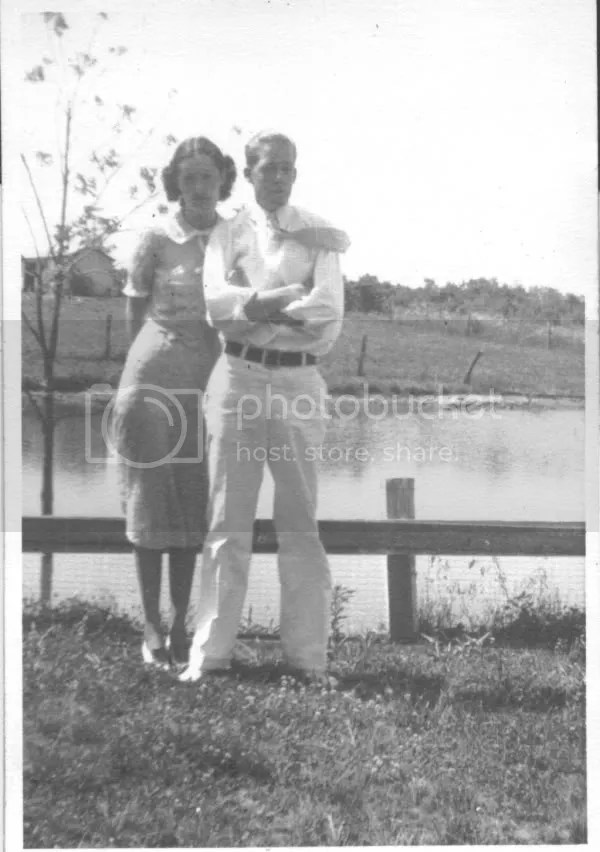 Earl and Doris, apparently on their wedding day, 3 July 1938, by the Sac River in or near Osceola, St. Clair County, Missouri