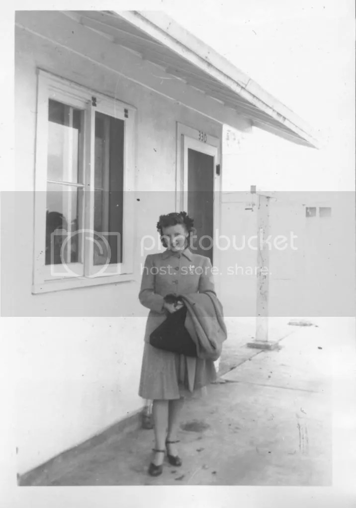 Jane in front of her home in Fairfield, California, about 1945