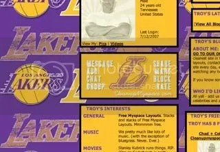 Los Angeles Lakers Myspace Backgrounds