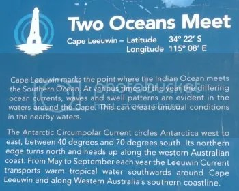 Photo of an information board at Cape Leeuwin, where the Indian Ocean meets the Southern Ocean.