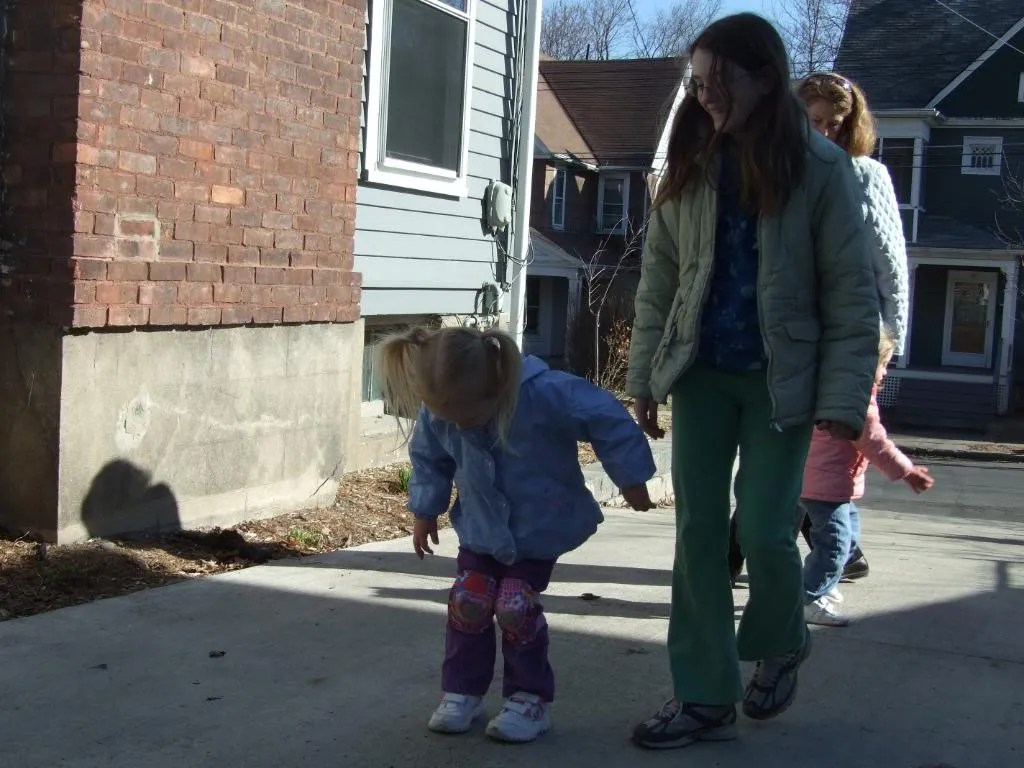 Playing on the driveway with Emily.