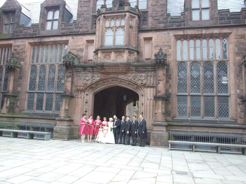 The wedding took place at the chapel on Princeton's campus.  So we walked around having the wedding party's picture taken at various buildings.
