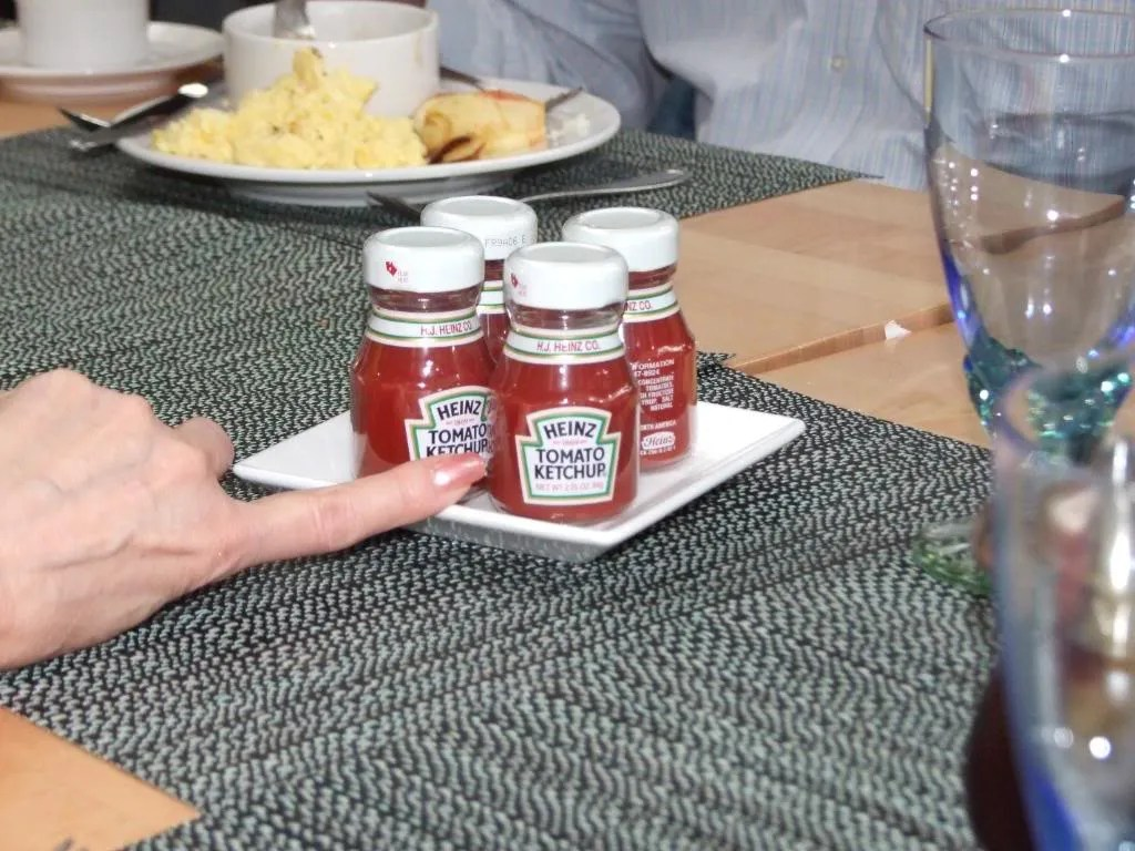 The smallest bottle's of ketchup I'd ever seen.