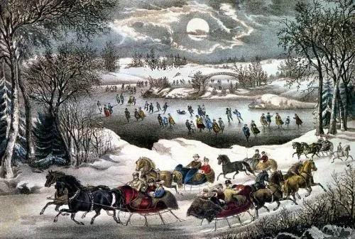 Fabric Block Winter Scene Snowy Frozen Pond Horses Moon EBay