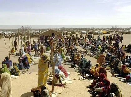 Refugee camp in the Darfur region