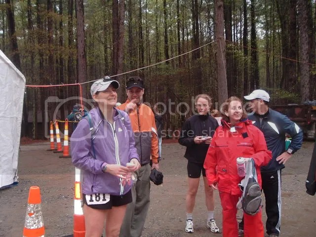 Umstead finishers Meredith (purple) and Emmy (in black) with support crew types
