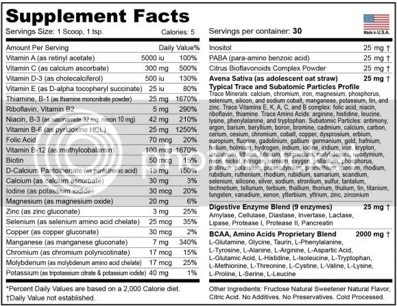 sport formula vitamin super capsules ingredients
