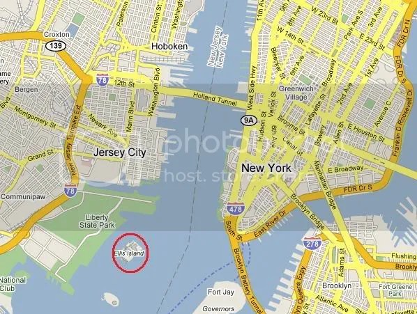 NY and NJ map showing Ellis Island
