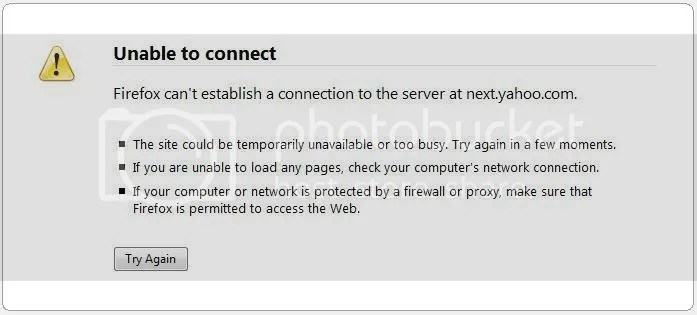 Yahoo Next error message