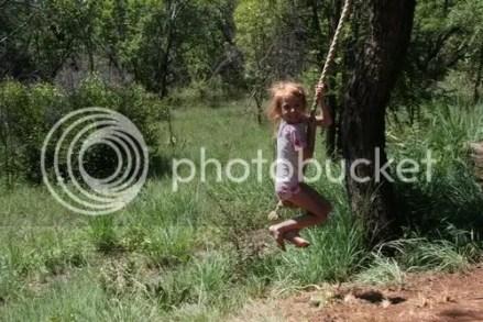 Rachel on rope swing