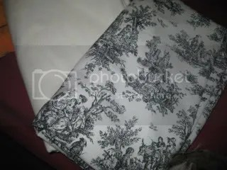 White-ish linen & black/white toile