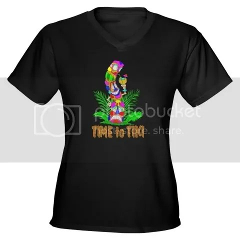 TIME to TIKI Women's V-Neck Dark T-Shirt