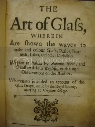 Title Page For the 1662 English Translation of Antonio Neris The Art of Glass