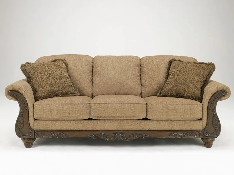 Traditional Brown Fabric Wood Trim Sofa Couch Set