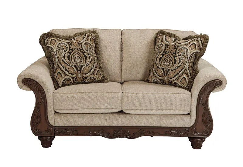 Traditional Wood Trim Gray Fabric Sofa Couch Set