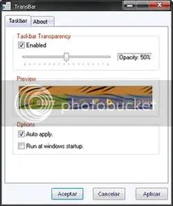 Barra de Tareas Transparente En Windows con TransBar - transbar_screenshot