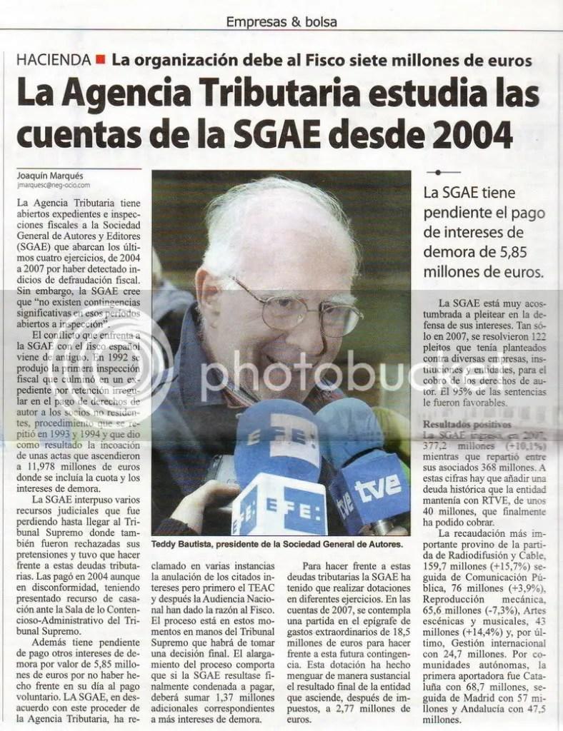 Cuentas de la SGAE auditadas por Hacienda