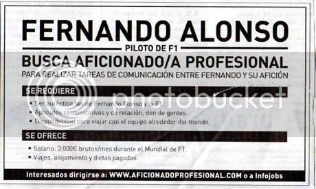 Fernando Alonso busca AFICIONADO PROFESIONAL