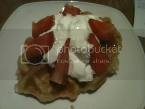 Day 7 breakfast! Belgian waffle with Greek yoghurt and strawberries~ photo 457533_10151018241186209_790476380_o.jpg