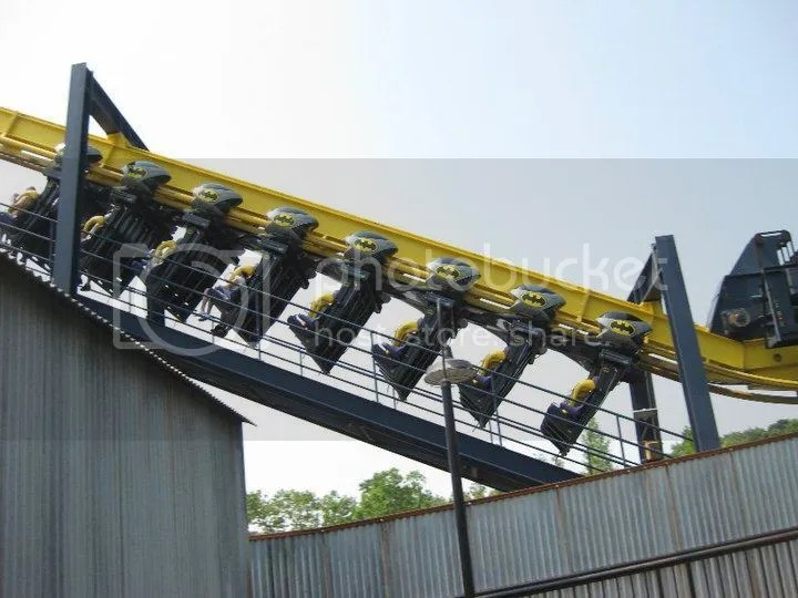 Batman the Ride puts you in the role of the Caped Crusader. Soar over Gotham City with the track and sky above, and nothing but air below your dangling feet. This suspended outside-looping roller coaster includes five head-over-heels experiences and photo 34184_458608351208_3752653_n.jpg