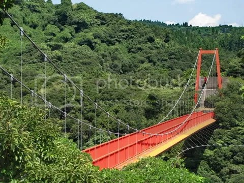 Pedestrian bridge across gorge