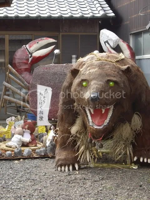Huge bear and crab; grappling teddy and bunny