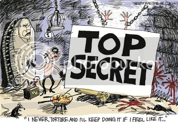 Bush and torture, cartoon