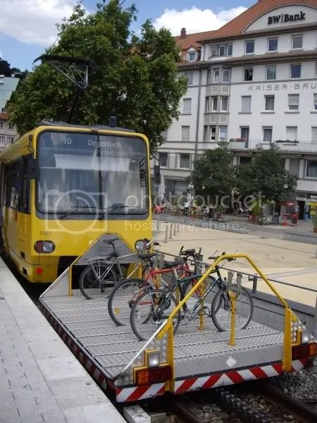 Stuttgart Funicular Tram 3001 in Marienplatz. Trusty Raleigh bike at front of bike rack.